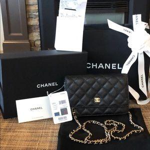 CHANEL Wallet On Chain NIB Full Set Black Caviar